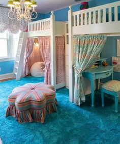 Turquoise Room Ideas - Well, exactly how regarding a touch of turquoise in your room? Establish your heart to see it since this short article will offer you turquoise room ideas. Bunk Beds For Girls Room, Bunk Beds With Stairs, Cool Bunk Beds, Big Girl Rooms, Kid Beds, Girls Canopy Beds, Small Bunk Beds, Twin Girl Bedrooms, Toddler Bunk Beds