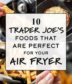 Here are 10 Trader Joe's Foods That Are Perfect for Your Air Fryer! Plus I've i… Here are 10 Trader Joe's Foods That Are Perfect for Your Air Fryer! Plus I've included my recommended temperature and time settings for everything I tried! Air Fryer Recipes Snacks, Air Frier Recipes, Air Fryer Recipes Breakfast, Air Fryer Dinner Recipes, Breakfast Cooking, Air Fryer Recipes Nuggets, Snacks Dishes, Breakfast Healthy, Trader Joe's