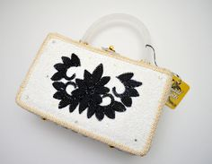 Vintage Wicker Handbag, White and Black Microbeads, Lucite Frame and Handle, Tropical Imports of Miami, NWT, 1960s by UpswingVintage on Etsy