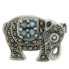 Sterling Silver Marcasite Blue Elephant Brooch LEAH HANNA. $29.99