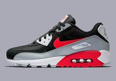 sports shoes 4fc68 7427a Details about Nike Air Max 90 Essential (Wolf Grey   Bright Crimson)  AJ1285-012   Mens 8-13