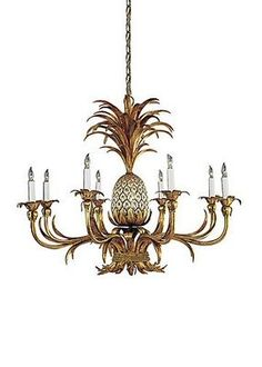 Wildwood Lamps Chandelier - Pineapple Chandelier 8 bulbs - Design Plus Pineapple Lights, Tropical Houses, Tropical Decor, Tropical Chandeliers, Hanging Wall Vase, British Colonial Decor, British West Indies, Art Nouveau, Chandeliers