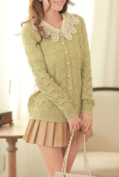 Art of Literature Crochet Collar Pointelle Knit Cardigan in Pastel Chartreuse  $34.99