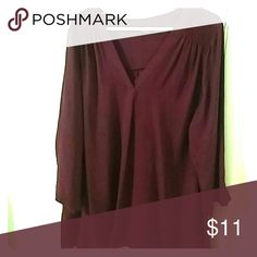 A.n.a burgundy silky top. Long sleeved, light weight, excellent condition. 2x a.n.a Tops Blouses
