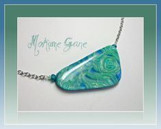 Aquamarine Statement chain necklace, polymer clay Jewelry. available via Etsy.