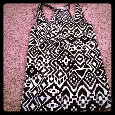 Cute tribal tank! Black and white tribal print tank! Nice soft material! Racerback! Tops Tank Tops