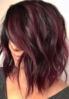 34 Latest Hair Color Ideas for 2019 - Get Your Hairstyle Inspiration for Next Se. - 34 Latest Hair Color Ideas for 2019 – Get Your Hairstyle Inspiration for Next Season – Latest H - Hair Color Purple, Fall Hair Colors, Hair Color Shades, Brown Hair Colors, Brown Hair With Purple Highlights, Purple Brown Hair, Red Hair For Cool Skin Tones, Dark Brown Hair With Highlights And Lowlights, Black Cherry Hair Color
