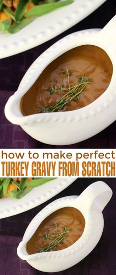 There are many ways to make gravy but the best way is just plain, old-fashioned gravy from pan drippings. This deeply flavourful turkey gravy makes everything on your Thanksgiving dinner or Christmas dinner plate better. Here is how to make perfect turkey Christmas Dinner Plates, Holiday Dinner, Christmas Dinners, Christmas Dinner Sides, Christmas Dinner Gravy, Christmas Dinner Food Ideas, Sides For Turkey Dinner, Sides For Thanksgiving Dinner, Turkey Side Dishes