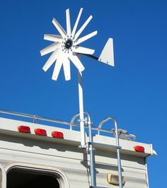 The Windwalker wind generator system by Free Spirit Energy can be mounted on your camper's roof or ladder.