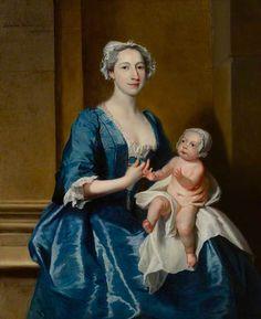 Johanna, Mrs Robert Warner of Bedhampton, and Her Daughter, Kitty (d.1772), Later Mrs Jervoise Clarke Jervoise by Joseph Highmore, 1736