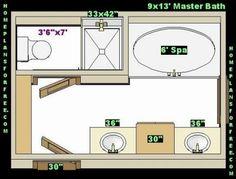 Master Bathroom Layout | Free Bathroom Plan Design Ideas - Master Bathroom Design 9x13 Size ...
