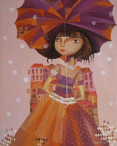 """Umbrella girl"" - #kids prints on stretched canvas by Yelena Dyumin. Portfolio at www.dyuminart.com"