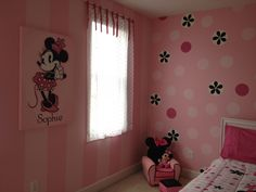 Minnie Mouse room. Painted stripes and dots for a 2 yr old can easily transform into a tween/teen room by changing out bedding and canvas art.