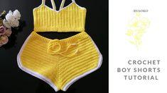 Crochet Shorts Pattern, Crochet Bra, Crochet Bikini Top, Crochet Skirts, Maxi Skirt Tutorial, Shorts Tutorial, Artisanats Denim, Crochet For Boys, Crochet Summer