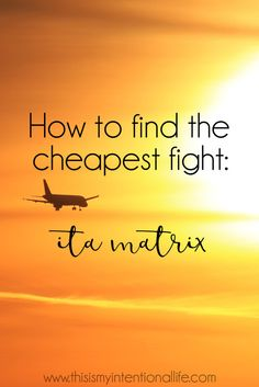 ITA Matrix - Magical flight finding software! How to use it for planning budget holidays. You'll ALWAYS be able to find the cheapest flight available.