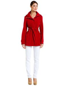 Some of you have to get in on this: Calvin Klein Red Hooded Rain Coat ruelala.com