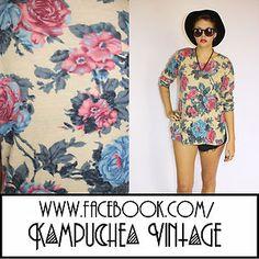*REDUCED* Vintage Pastel Floral Print Top Womens sz12 80s Retro Kitsch FREE P