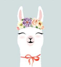 Cute hand drawn llama character with flower crown watercolor. Alpacas, Baby Llama, Cute Llama, Funny Llama, Llama Images, Llama Drawing, Llama Arts, Llama Birthday, Illustration Art