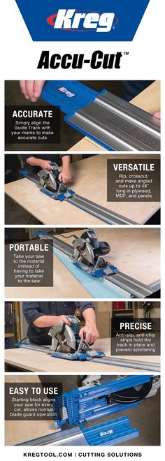 Transform your circular saw into a high-performance, track-guided cutting system with the Kreg Accu-Cut. Make straight, accurate, splinter-free cuts in plywood, MDF and other large sheets. Whether you're making rip cuts, crosscuts, or angled cuts, the Accu-Cut provides precision, control, and ease of use. The Accu-Cut is portable so you can make high-quality cuts anywhere. And the track is equipped with anti-slip, anti-chip strips tho hold the track securely in place as you cut—no clamps…