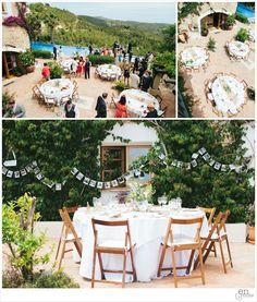 Almiral de la Font set-up (5 tables, 7 chairs each) http://enroute-blog.com/second-shooting-sitges-wedding-emma-charlie/