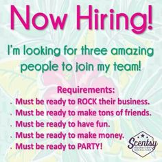 Need extra money? Want to earn a free vacation? Want to work from home? Join my team today Kristinaberry.scentsy.us