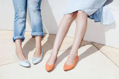 SALE 20% Skimmers , Womens Flats , Coral Leather Pointed Toe Flats ,  Handmade Leather Shoes