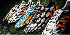 "adidas Soccer 2014 Summer ""Battle"" Pack: As international teams continue to gear up for the World Cup games this summer (kick-off begins Soccer Boots, Football Boots, Adidas Football, Messi Soccer Cleats, Adidas Presents, Philipp Lahm, World Cup Games, Adidas Boots, Dani Alves"