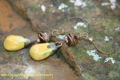 Handmade Yellow ceramic earrings Czech by Violetastorejewelry