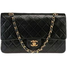 Chanel Black Lambskin GHW Classic Medium Double Flap Shoulder Bag found on Polyvore featuring bags, handbags, shoulder bags, chanel, chanel purse, chanel shoulder bag, shoulder handbags and lambskin leather handbags