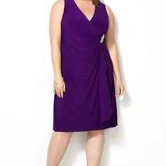 Embellished Faux Wrap Dress-Plus Size Dress-Avenue