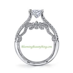 www.BloomingBeautyRing.com  #UniqueEngagementRing   BEAUTIFUL 18K WHITE GOLD DIAMOND RING. TOTAL CARAT WEIGHT IS .50CT WITH G-H COLOR VS-SI CLARITY STONES