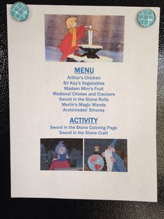 Sword in the Stone Movie Night Menu