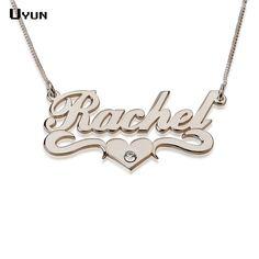 Tên tùy chỉnh vòng cổ cá nhân bạc Carrie Phong cách Tên nơi Necklace Với Tim Fashion brithstone Necklaces Đối với phụ nữ 2016