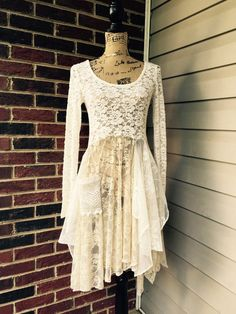 Boho dress shabby chic cream vintage lace tunic/sweater dress repurposed one of a kind wearable art lagenlook upcycle boho chic