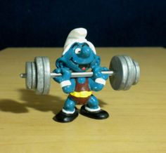 Smurfs Weightlifter Hefty Super Smurf Rare Vintage Figure Schleich Toy Lot 40507