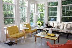 Touches of yellow in a sunny room