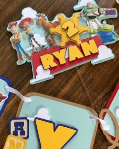 Toy Story cake topper, Toy Story name banner, Toy Story happy birthday banner Toy Story Cupcakes, Toy Story Cake Toppers, Toy Story Baby, Toy Story Theme, Toy Story Decorations, Diy Birthday Decorations, Spongebob Birthday Party, Toy Story Birthday Cake, Festa Toy Store
