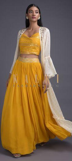 Dandelion Yellow Lehenga Choli And Off White Ruffle Jacket Online - Kalki Fashion Cape Lehenga, Yellow Lehenga, Lehenga Skirt, Lehenga Choli, Indian Dresses, Indian Outfits, Indian Look, Indian Wear, Yellow And White Dress