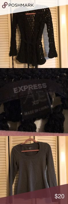 Sweater bundle of 3 Black express crochet sweater apron 24 in long fits past my waist really cute good condition no rips or tears that I'm aware of  Grey express top  and American eagle sweater all good condition  trying to clear out my closet  all 3 bundled together Express Sweaters Crew & Scoop Necks