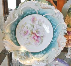 RS Prussia Porcelain Bowl Lavender and Pink Flowers.