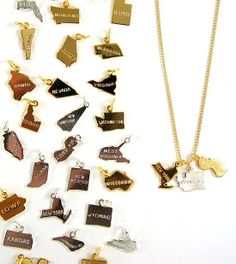 Craft a unique necklace for someone special with a few Birdhouse state charms ($7 each) that represent the recipient's past and present.