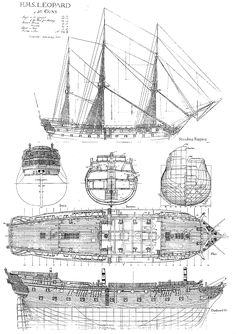 H.M.S. Leopard, of 50 Guns.  Drawn by John McKay, 1907 Model Sailing Ships, Model Ships, Model Ship Building, Boat Building, Nautical Drawing, Ship Map, Black Pearl Ship, Make A Boat, Ship Of The Line