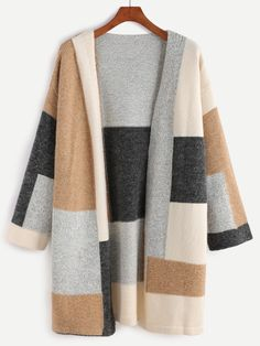 SheIn offers Color Block Drop Shoulder Open Front Sweater Coat & more to fit your fashionable needs. Sweater Coats, Cable Knit Sweaters, Long Sweaters, Sweaters For Women, Classy And Fab, Elisa Cavaletti, Winter Skirt, Sweater Weather, Pulls