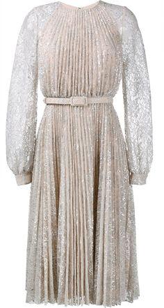 Erdem 'Rhona' Metallic Long-Sleeve Pleated Lace Midi Dress