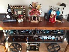 Vintage Christmas display on industrial cart Retro Christmas, Christmas Items, Repurposed Items, Cart, Industrial, Display, Create, Home Decor, Covered Wagon