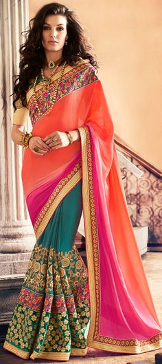 195026: Green, Orange color family Embroidered Sarees, Party Wear Sarees with matching unstitched blouse.