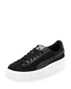 PUMA BASKET LACE PLATFORM SNEAKER, BLACK. #puma #shoes #