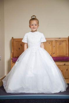 Classic Communion Dress - Short Sleeve First Communion Dress with Princess Skirt -Olivia K OK327 - Gorgeous Girls First Holy Communion Dress for a