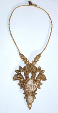 Macrame necklace coral fossil gem Chiapas Mexico by macramex