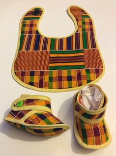 Kente Baby Bib and Booties set   Baby shower gift by SaloneStarr